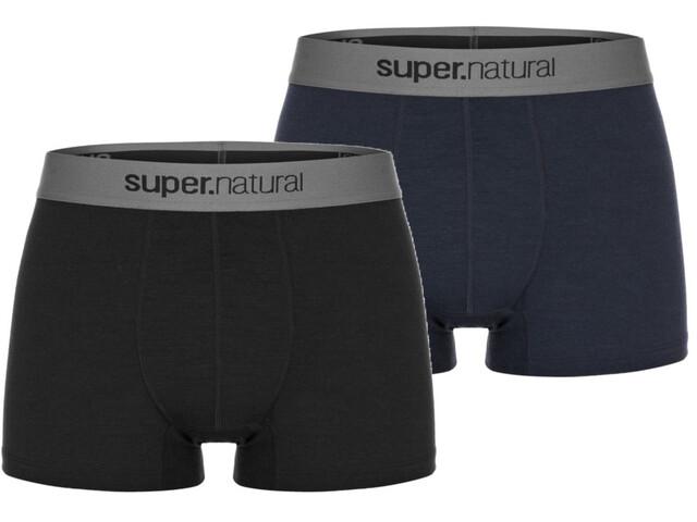 super.natural Base 175 Boxers Heren, jet black melange/navy blazer melange